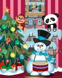 Snowman Playing Drums Wearing A Hat And A Blue Scarf with christmas tree and fire place Illustration. Colourfull Royalty Free Stock Photography
