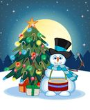 Snowman Playing Drums Wearing A Hat And A Blue Scarf With Christmas Tree And Full Moon At Night Background For Your Design Vector Stock Images