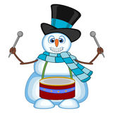Snowman playing drums wearing a hat and a blue scarf for your design vector illustration Royalty Free Stock Images