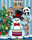 Snowman Playing Drums Wearing A Hat And A Bow Ties with christmas tree and fire place Vector Illustration. Colourfull Stock Image