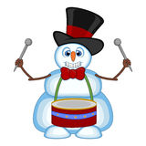 Snowman playing drums wearing a hat and a bow ties for your design vector illustration Royalty Free Stock Photography