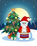 Snowman Playing Drums Wearing A Santa Claus Costume With Christmas Tree And Full Moon At Night Background For Your Design Vector I Royalty Free Stock Photo