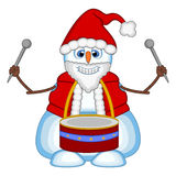Snowman playing drums wearing a Santa Claus costume for your design Vector Illustration royalty free illustration