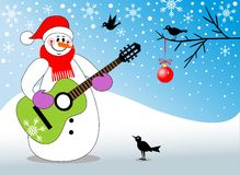 Snowman playing guitar Royalty Free Stock Photos