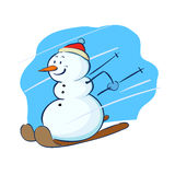 Snowman playing ski Stock Images