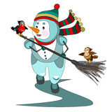 Snowman playing with two birds Royalty Free Stock Photography