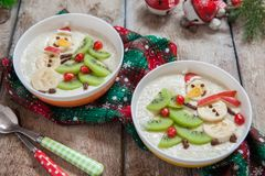 Snowman porridge oatmeal breakfast , Fun Christmas for kids Stock Image