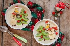 Snowman porridge oatmeal breakfast , Fun Christmas for kids Stock Photography