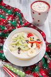 Snowman porridge oatmeal breakfast , Fun Christmas for kids Stock Images