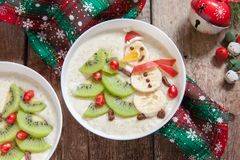 Snowman porridge oatmeal breakfast , Fun Christmas for kids Stock Photos