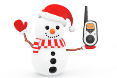 Snowman with Portable radio transceiver Royalty Free Stock Images