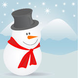 Snowman portrait. With winter background  illustration Royalty Free Stock Photography
