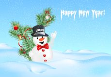Snowman postcard, cdr vector Royalty Free Stock Photos