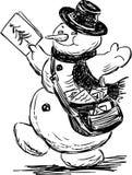 Snowman postman Royalty Free Stock Image