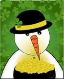 Snowman & Pot of Gold stock photo