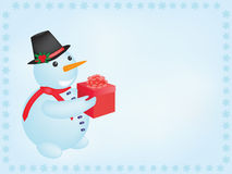 Snowman with present Royalty Free Stock Photography