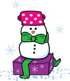Snowman present. Vector illustration of an winter present Stock Photo