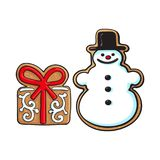 Snowman, present box Christmas gingerbread cookies. Glazed snowman and present box Christmas gingerbread cookies, sketch vector illustration isolated on white Royalty Free Stock Photos