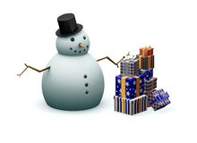 Snowman with presents Royalty Free Stock Photography