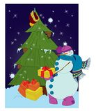 Snowman with presents and Christmas tree Royalty Free Stock Photo