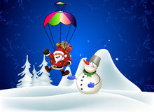 Snowman presents Santa Claus Royalty Free Stock Photos