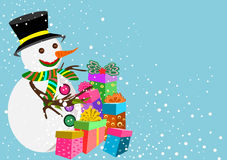 Snowman and presents Royalty Free Stock Photos