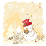 Snowman protecting his nose. Vector illustration of little rabbit and snowman - Everything grouped for easy use Royalty Free Stock Photos