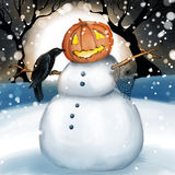 Snowman with pumpkin head. A snowman with a pumpkin head a raven and a spider web attached to its wooden stick arms with a black tree backdrop. A large full moon royalty free illustration