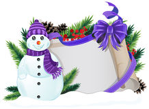 Snowman with purple hat and scarf Stock Image