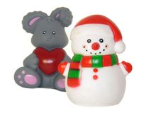 A snowman and a rabbit, christmas toys isolated Stock Photos