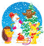 Snowman, rabbit, owl and hedgehog vector illustration