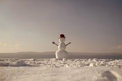 snowman radosny Nowego roku bałwanu szef kuchni od śniegu z garnkiem Obrazy Royalty Free