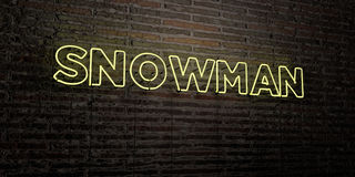 SNOWMAN -Realistic Neon Sign on Brick Wall background - 3D rendered royalty free stock image Royalty Free Stock Photo