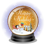 Snowman receiving a christmas gift box in snow globe Royalty Free Stock Photography