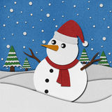 Snowman recycled paper craft on paper background. Stock Images
