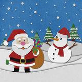 Snowman recycled paper craft on paper background. Royalty Free Stock Photography