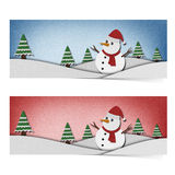 Snowman recycled papercraft on paper background. Royalty Free Stock Photos