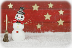 Snowman on red background Royalty Free Stock Photography
