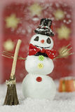 Snowman on red background Royalty Free Stock Image