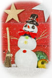Snowman on red background Stock Image