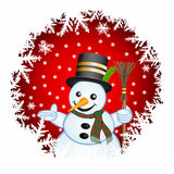 Snowman on a red background Royalty Free Stock Photography