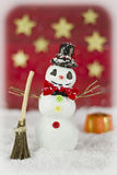 Snowman on red background Stock Photography