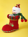 Snowman in red boot Stock Photography