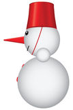 Snowman with red bucket Royalty Free Stock Photos