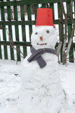 Snowman in Red Bucket Royalty Free Stock Images