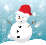 Snowman with red cap on blue background Royalty Free Stock Photos