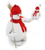 Snowman in red cap and scarf on a white. 3d. Stock Photos