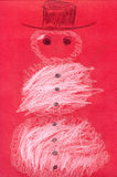 Snowman on red cardboard Royalty Free Stock Images