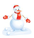 Snowman  in the red cup and mittens Royalty Free Stock Photo