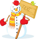 Snowman with red gloves Stock Photo
